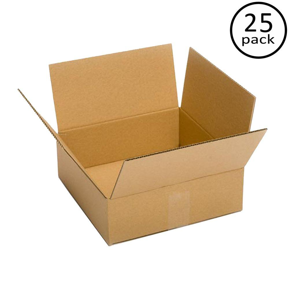 Plain Brown Box 12 in. x 12 in. x 4 in. 25 Moving Box Bundle