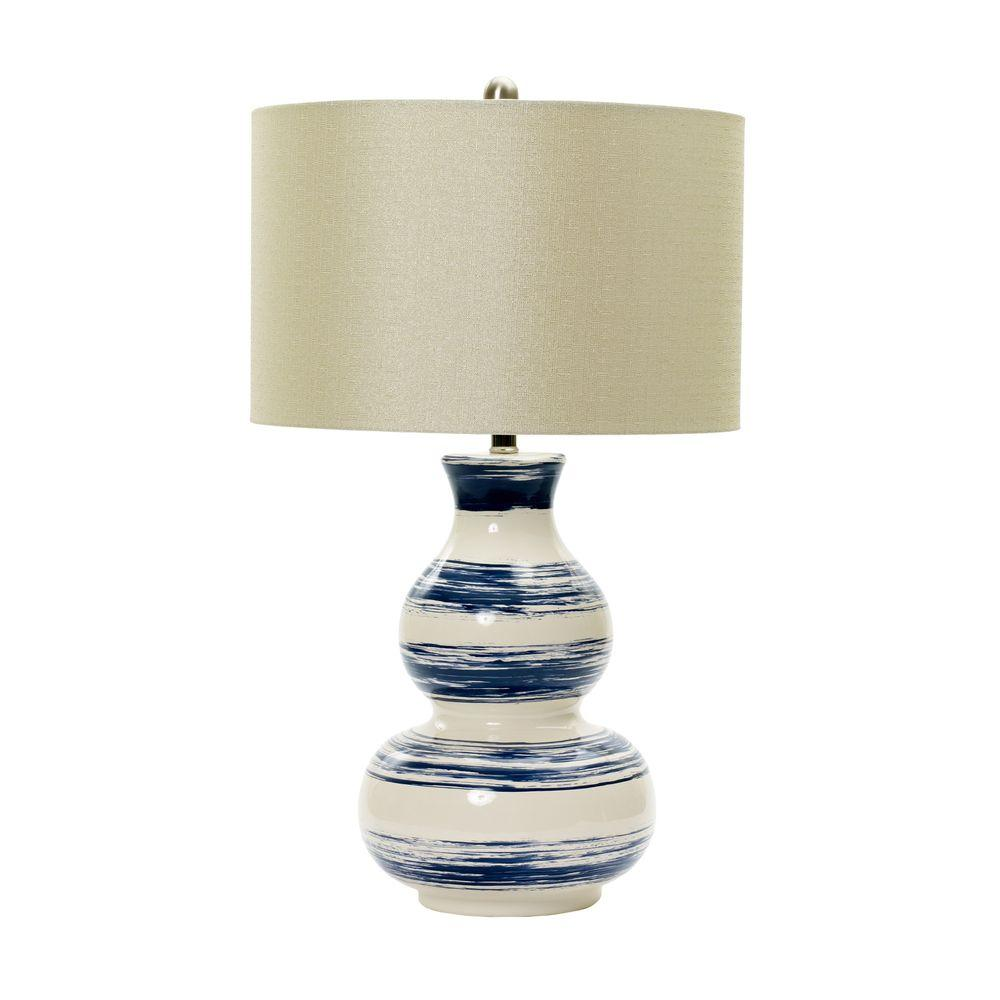 Fangio Lighting M R Lamp And Shade S 28 In White Striped Ceramic Table With Navy Brushstrokes