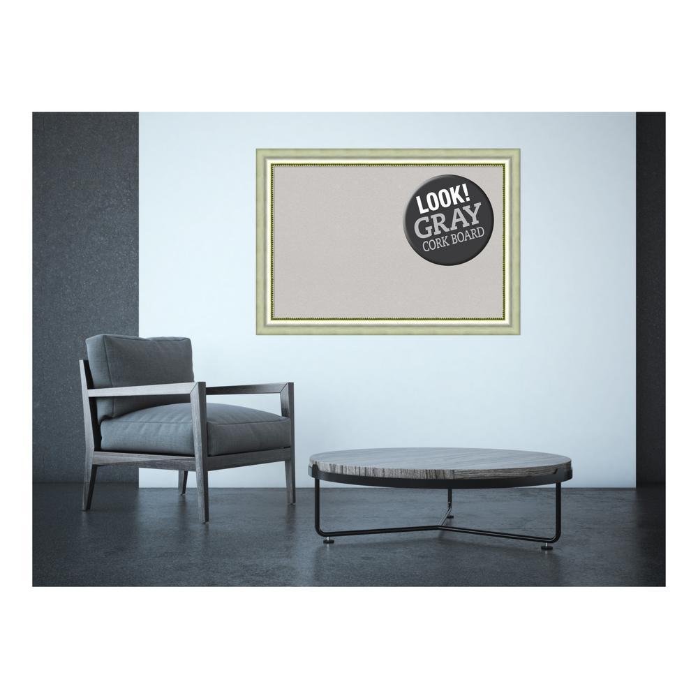 Vegas Curved Silver Wood 41 in. x 29 in. Framed Grey Cork Board