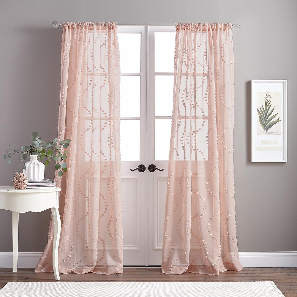 Dixon Wave Sheer 50 In W X 95 In L Rod Pocket Curtain Panel In Blush 1z83030abh The Home Depot