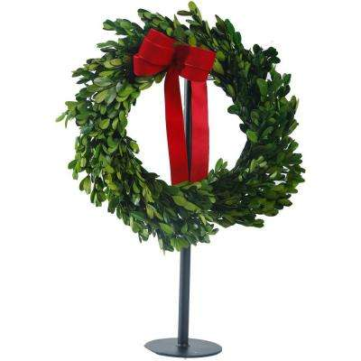 14 in. Boxwood Dried Wreath on Stand