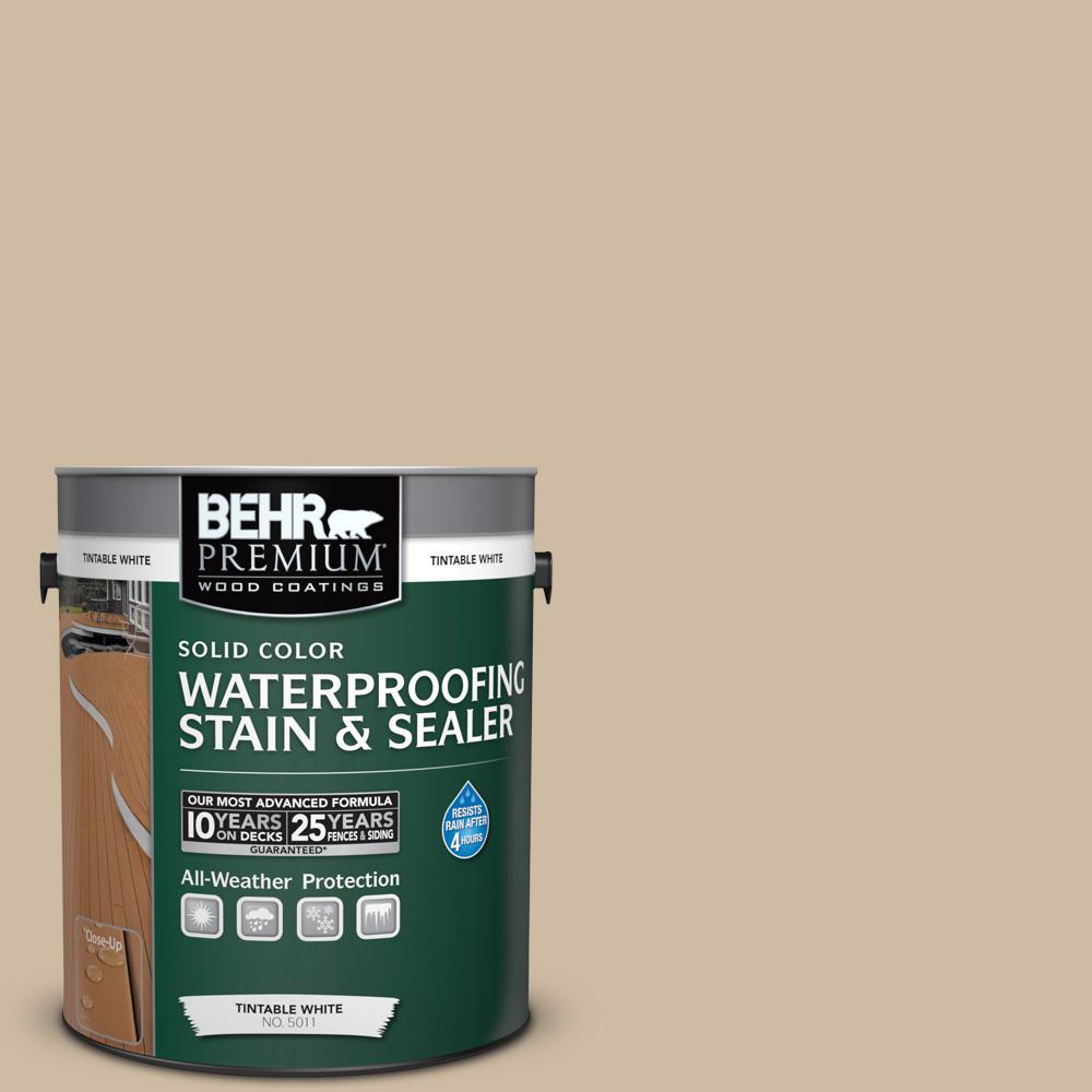 1 gal. #710C-3 Gobi Desert Solid Color Waterproofing Exterior Wood Stain and Sealer