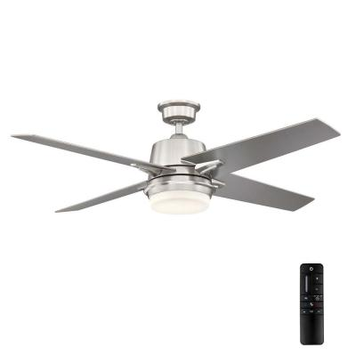 56 in. Montel LED Brushed Nickel Ceiling Fan With Light and Remote Control