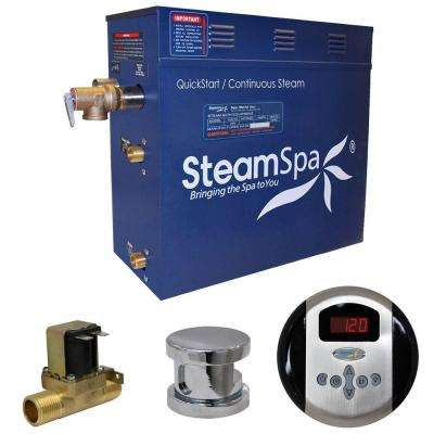 Oasis 6kW QuickStart Steam Bath Generator Package with Built-In Auto Drain in Polished Chrome
