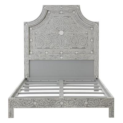 Dhara Bone Pantone Grey Queen Bed
