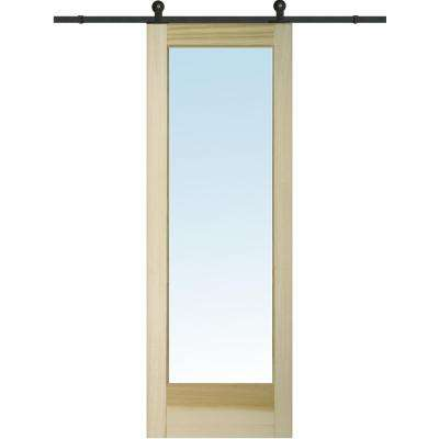 36 in. x 96 in. Clear 1 Lite Unfinished Poplar Single Sliding Barn Door with Hardware Kit
