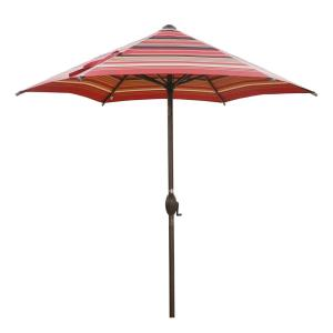 7-1/2 ft. Round Outdoor Market with Push Button Tilt and Crank Lift Patio Umbrella in Red Striped