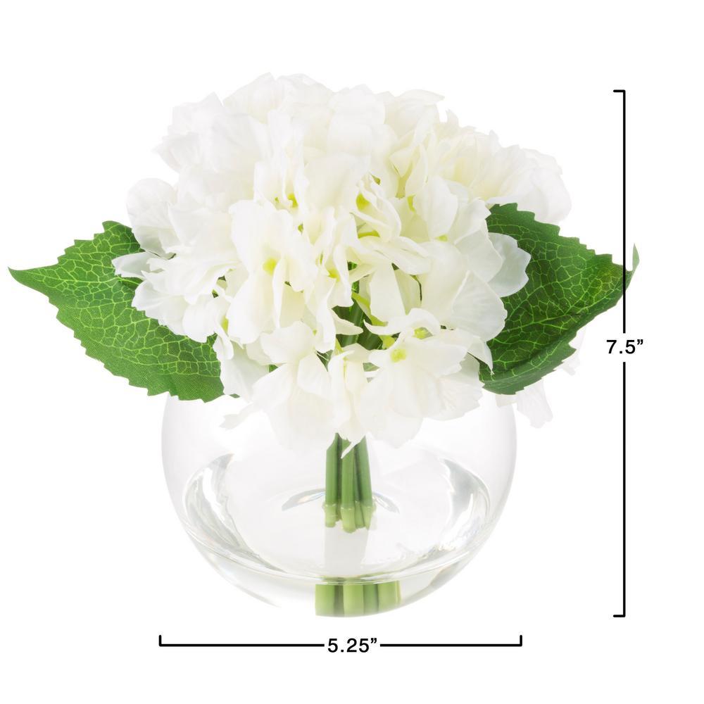 225 & Pure Garden 7.5 in. Hydrangea Artificial Floral White ...