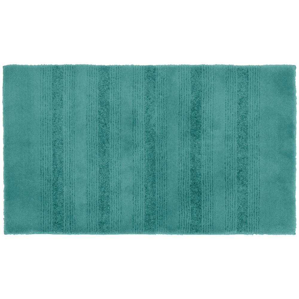Essence Sea Foam 24 in. x 40 in. Washable Bathroom Accent Rug