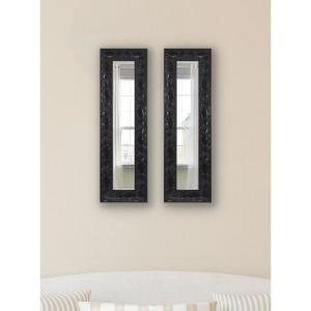 26 inch x 10 inch Black Endicott Vanity Mirror Panels (Set of 2) by