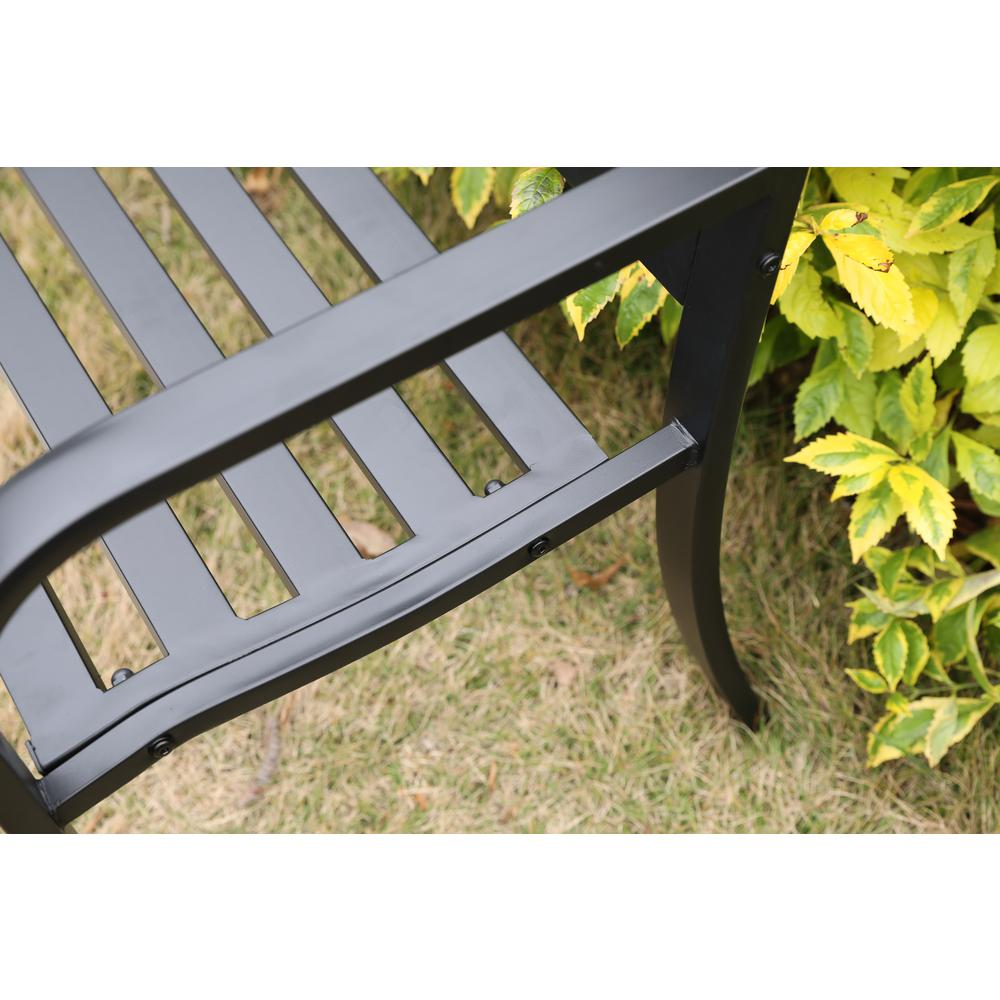 Enjoyable Gardenised Gardenised 47 In 2 Seater Black Steel Outdoor Patio Park Bench For Garden Weather Resistant Pabps2019 Chair Design Images Pabps2019Com