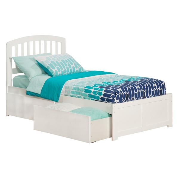 Atlantic Furniture Richmond White Twin Platform Bed with Flat Panel Foot Board and 2-Urban Bed Drawers