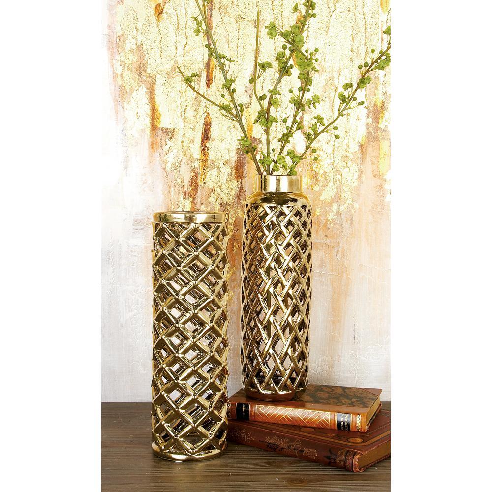12 in. Modern Gold Lattice Ceramic Decorative Vase (Set of 2 ...