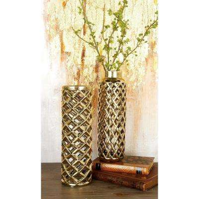 12 in. Modern Gold Lattice Ceramic Decorative Vase (Set of 2)