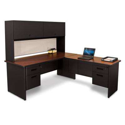 72 in. W x 78 in. D Black, Mahogany and Chalk Desk with Return and Pedestal