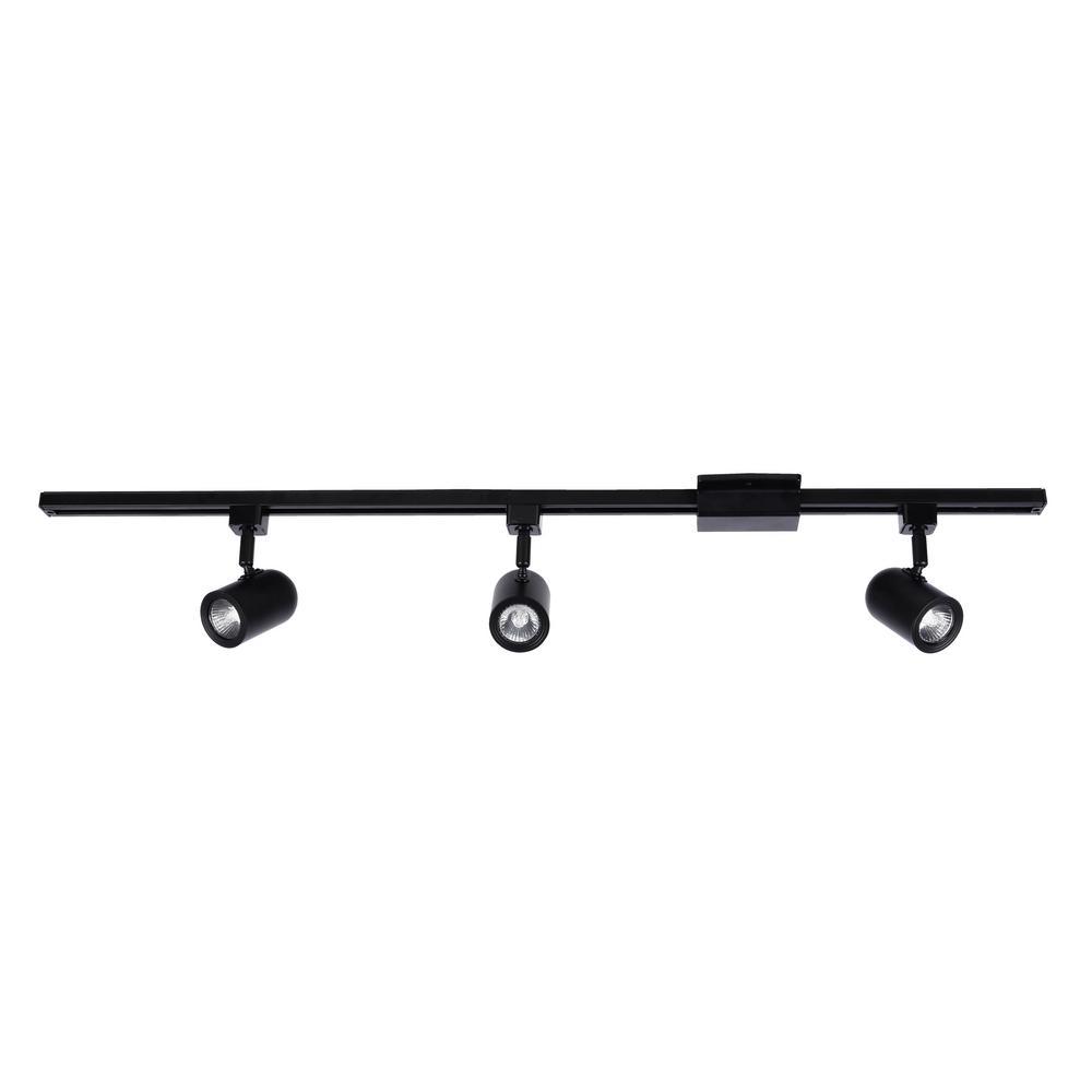 3.5 ft. 3-Light White LED Track Lighting Kit with Roundback Head