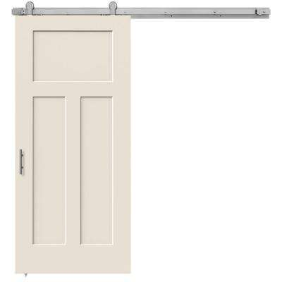 36 in. x 84 in. Craftsman Primed Smooth Molded Composite MDF Barn Door with Modern Hardware Kit