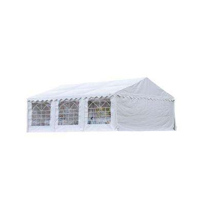 20 ft. W x 20 ft. H Party Tent in White with Enclosure Kit, Galvanized Steel Frame, and Waterproof, Fire-Rated Fabric