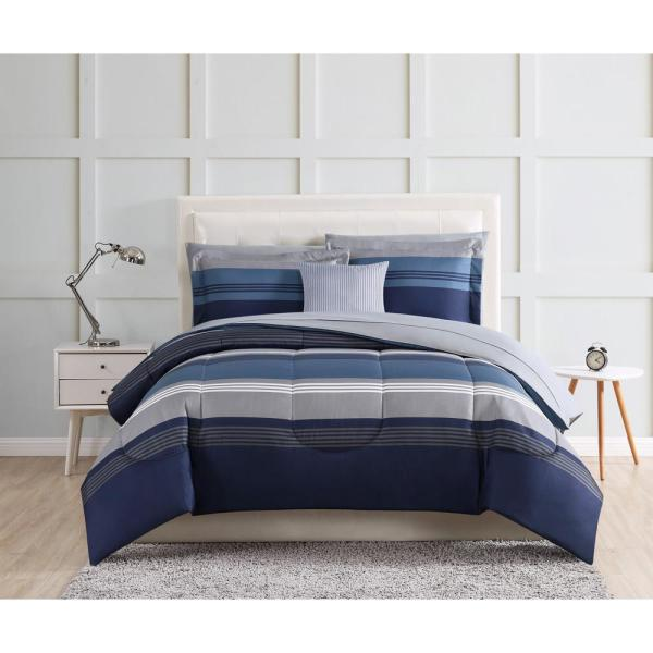 Style 212 Carlyle 12 Piece Blue Queen Bed In A Bag Set Bib2706blqn