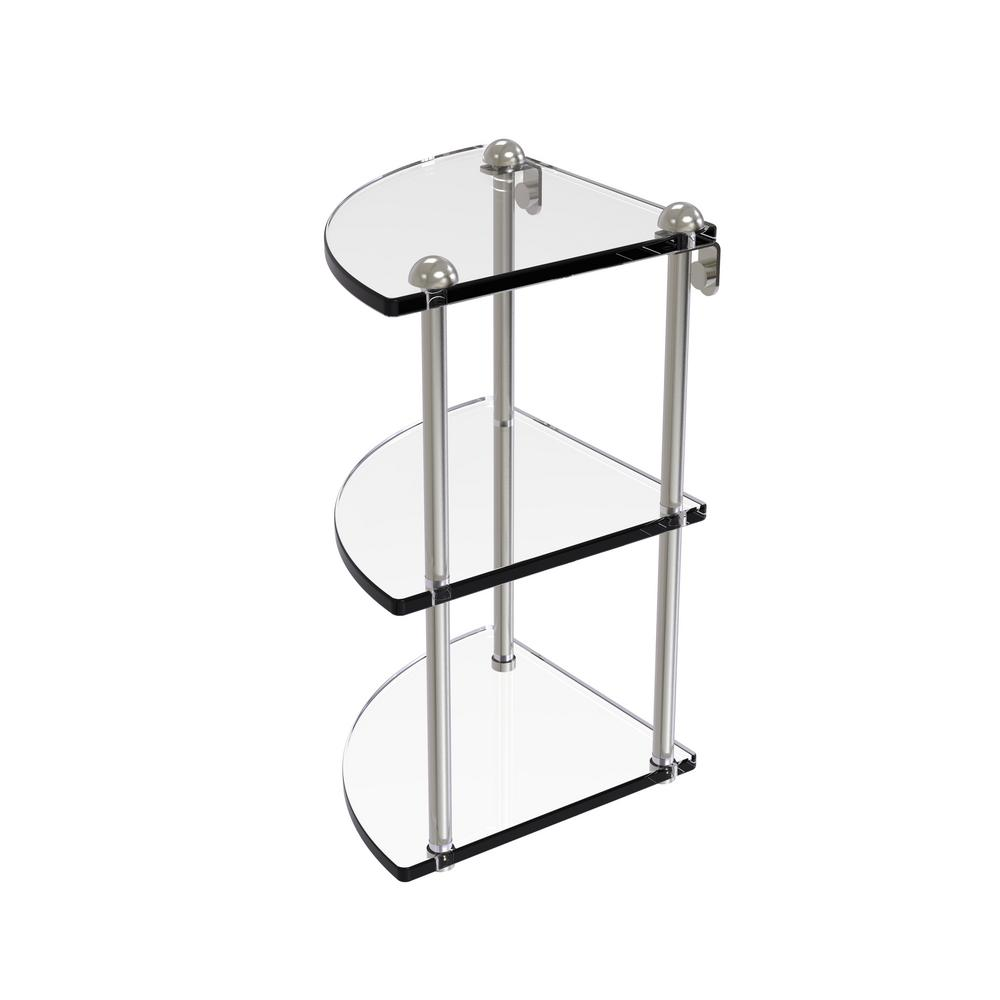 8 in. Three Tier Corner Glass Shelf in Satin Nickel