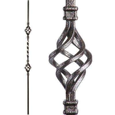 Twist and Basket 44 in. x 0.5 in. Copper Vein Double Basket Hollow Wrought Iron Baluster
