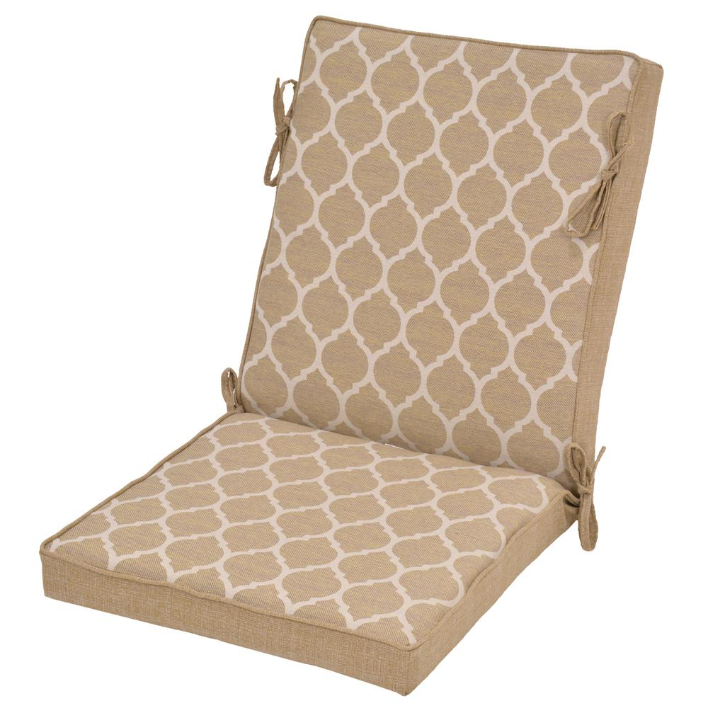 Toffee Trellis Reversible Outdoor High Back Dining Chair Cushion