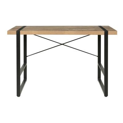 47 in. Rectangular Brown/Black Writing Desk with Open Storage