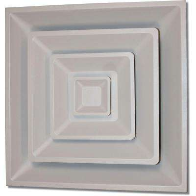 24 in. x 24 in. Drop Ceiling T-Bar 3 Cone Air Vent Register, White with 6 in. Collar