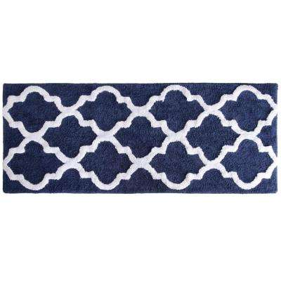 Trellis Navy 24 in. x 60 in. Bathroom Mat