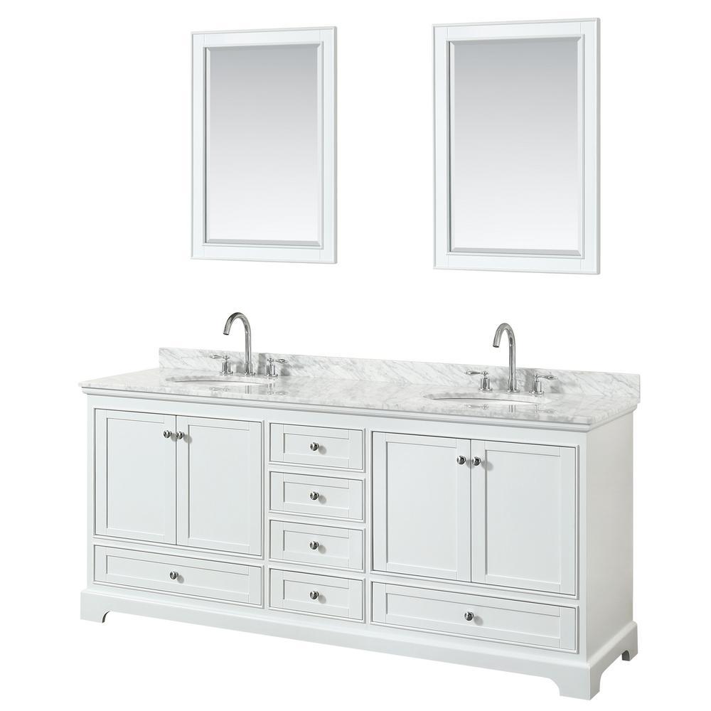 Deborah 80 in. Double Vanity in White with Marble Vanity Top in White Carrara with White Basins and 24 in. Mirrors