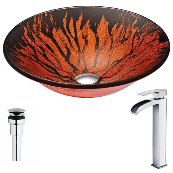 ANZZI Forte Series Deco-Glass Vessel Sink in Lustrous Red and Black with Key Faucet in Polished Chrome