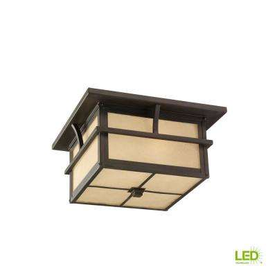 Medford Lakes Statuary Bronze 2-Light Outdoor Flush Mount with LED Bulbs