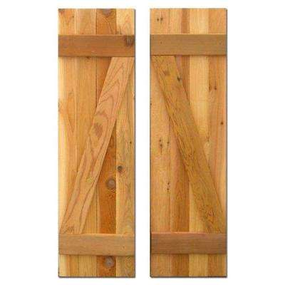 12 in. x 36 in. Board-N-Batten Baton Z Shutters Pair Natural Cedar
