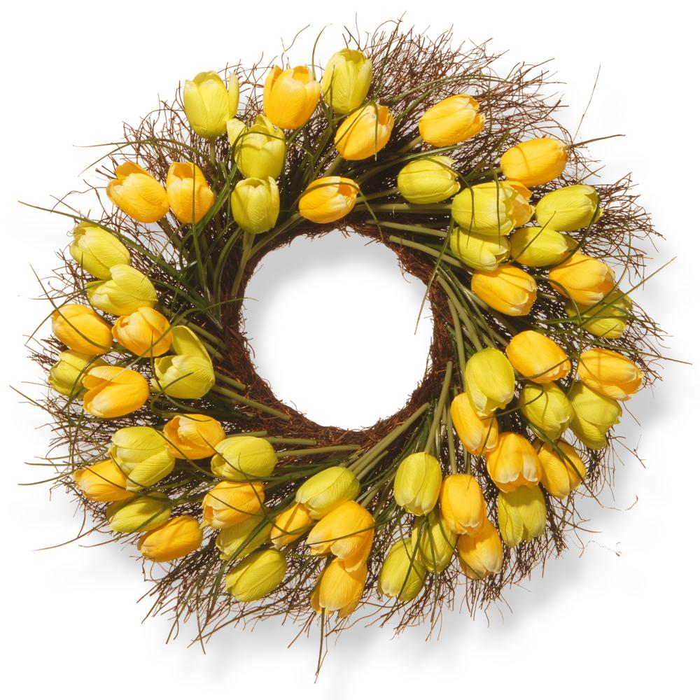 National Tree Company 24 in. Yellow Tulip Wreath-RAS-HY55724W-Y1 ...