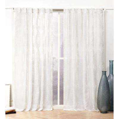 Odense Latte Sheer Hidden Tab Top Curtain Panel - 54 in. W x 84 in. L (2-Panel)