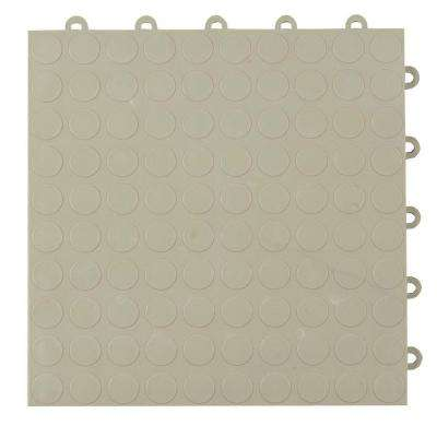 Coin Top 1 ft. x 1 ft. x 5/8 in. Light Gray Polypropylene Interlocking Garage Floor Tile (Case of 24)