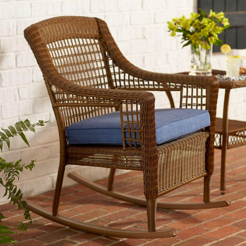 Hampton Bay Spring Haven Brown All Weather Wicker Outdoor Patio Rocking Chair With Sky Blue
