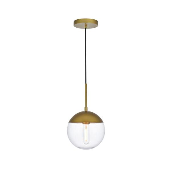 Timeless Home Ellie 1-Light Brass Pendant with Clear Glass Shade
