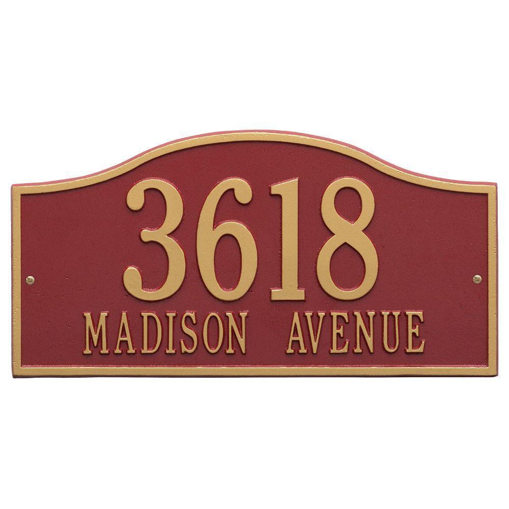 Rolling Hills Rectangular Red/Gold Grande Wall 2-Line Address Plaque