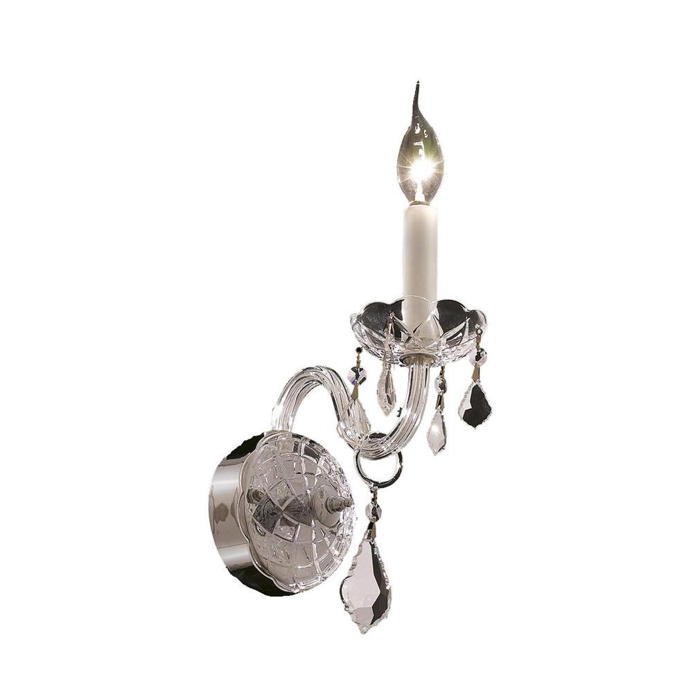 1-Light Chrome Wall Sconce with Clear Crystal