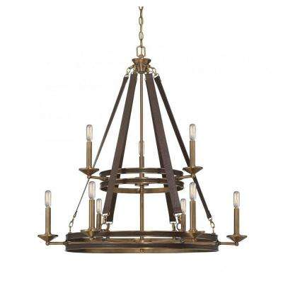 Dabney 9-Light Brown Leather Chandelier