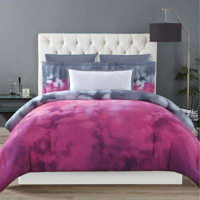 Botanical Ombre Magenta and Grey Full/Queen Comforter with 2-Shams