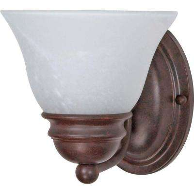 1-Light Old Bronze Vanity Light with Alabaster Glass Bell Shades