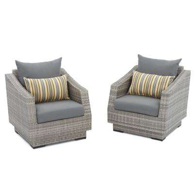 Cannes Patio Club Chair with Charcoal Grey Cushions (2-Pack)