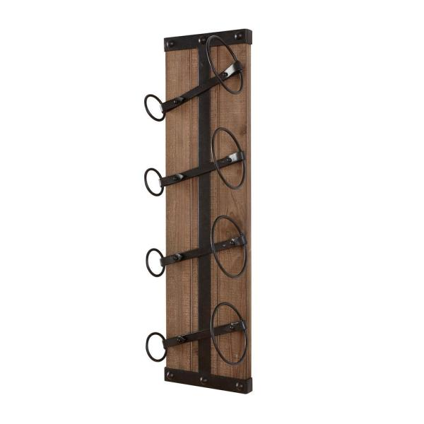 Stylewell Stylewell 4 Bottle Black And Natural Wood Vertical Wall Mounted Wine Rack L170370xx The Home Depot