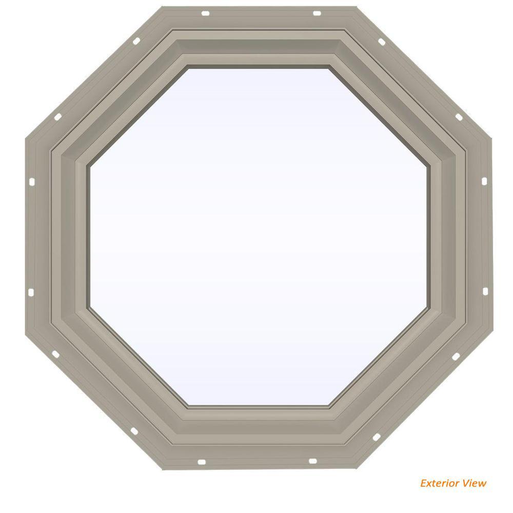 23.5 in. x 23.5 in. V-2500 Series Desert Sand Vinyl Fixed Octagon Geometric Window w/ Low-E 366 Glass