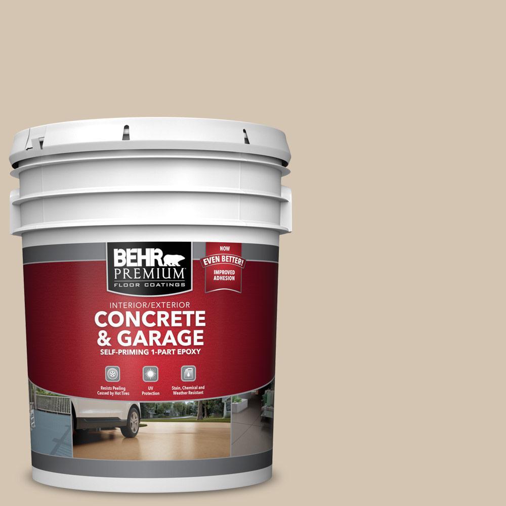 5 gal. #N300-3 Casual Khaki Self-Priming 1-Part Epoxy Satin Interior/Exterior Concrete and Garage Floor Paint