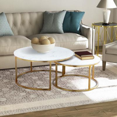 17.55 in. Gold Round Nesting Coffee Table with Marble Top (Set of 2)