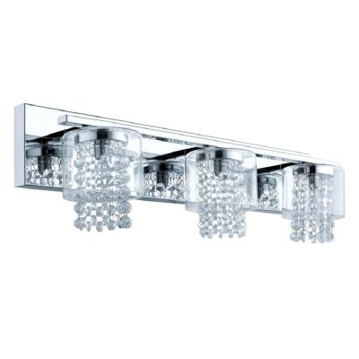 Kissling 3-Light Polished Chrome Vanity Light with Glass Crystal Accents