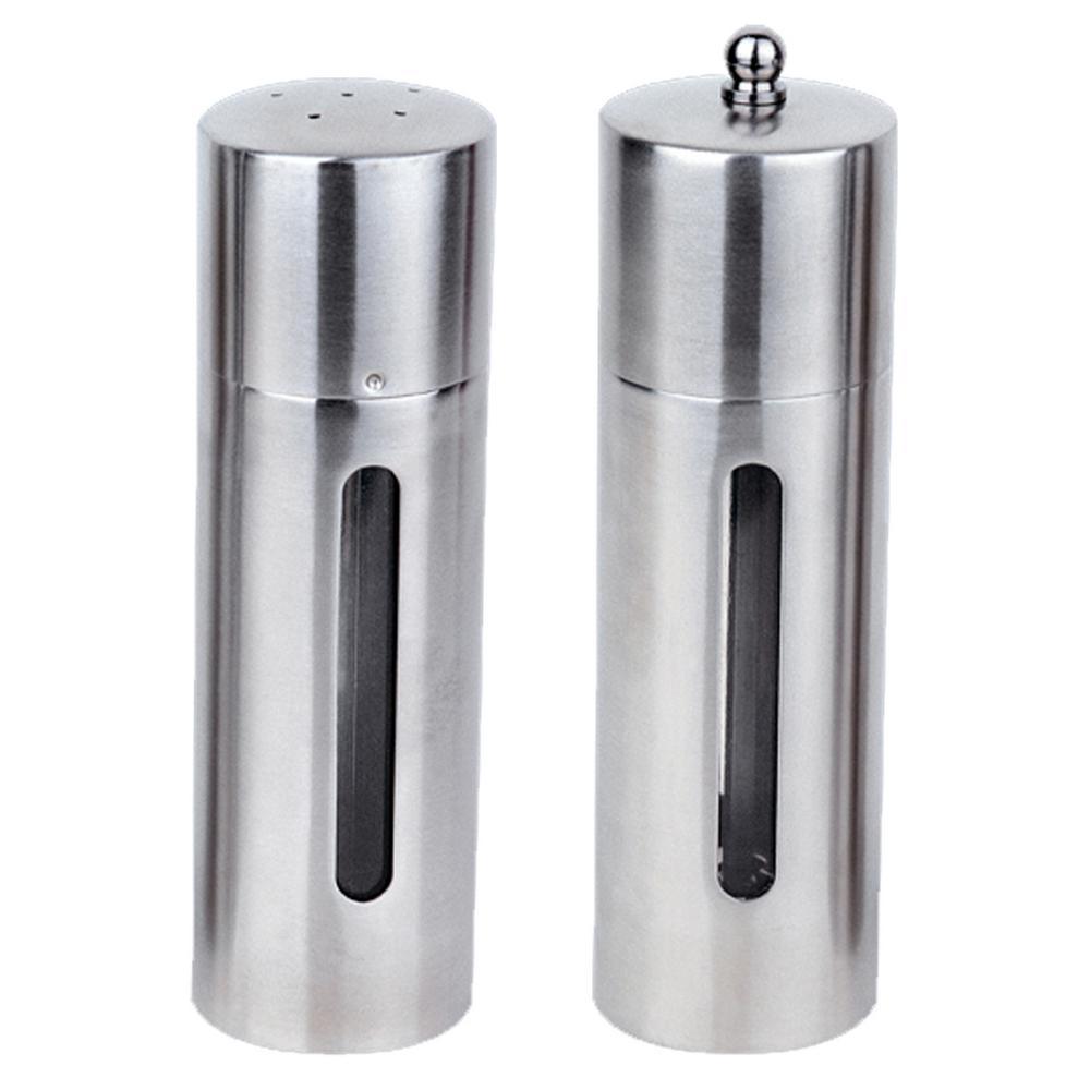 Essentials Stainless Steel Salt Cellar and Pepper Mill Set